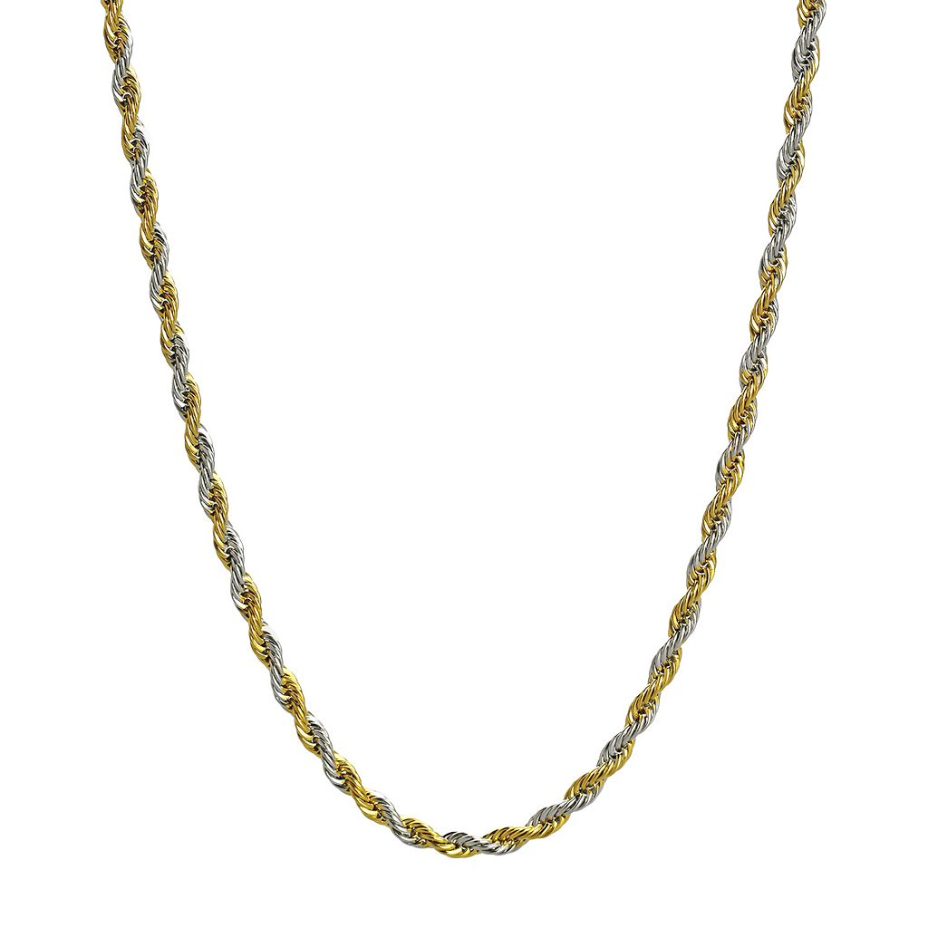 LYNX Stainless Steel Yellow Ion-Plated Rope Chain Necklace - 24-in.