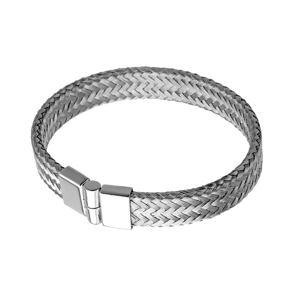 LYNX Stainless Steel Braided Bangle Bracelet