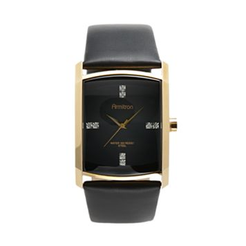 Armitron Men's Crystal Leather Watch - 20/4604BKGPBK