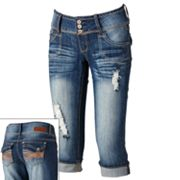 Almost Famous Cuffed Distressed Capris - Juniors
