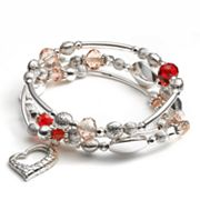 Croft and Barrow Silver Tone Bead and Heart Charm Stretch Bracelet Set
