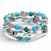 Croft and Barrow Silver Tone Bead Stretch Bracelet Set