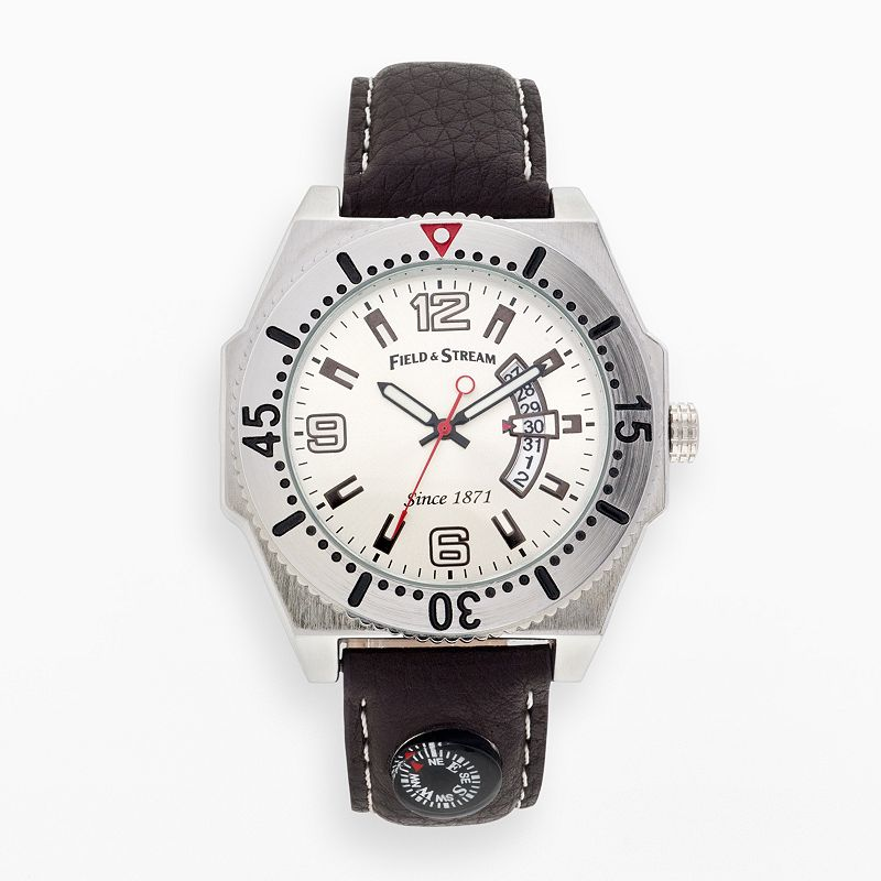 Field and Stream Silver Tone Leather Compass Watch - FSM026 - Men