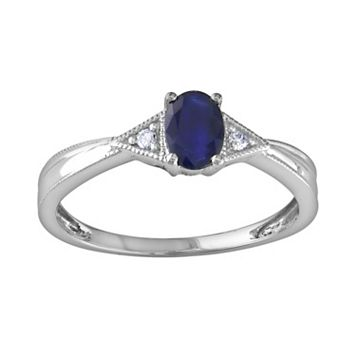 14k White Gold Sapphire & Diamond Accent Ring