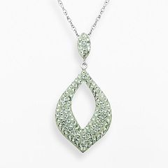 Artistique Sterling Silver Crystal Teardrop Pendant - Made with Swarovski Crystals