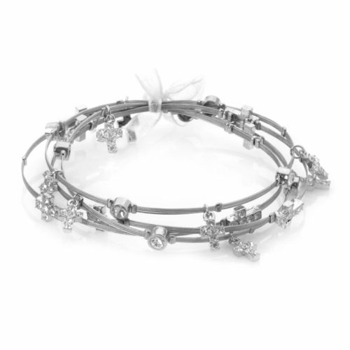 Silver Plate and Stainless Steel Crystal Cross Charm Wire Bangle Bracelet Set