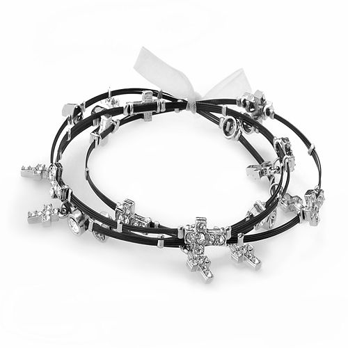 Silver Plate & Black-Coated Stainless Steel Crystal Cross Charm Wire Bangle Bracelet Set