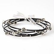 Silver Plate and Black-Coated Stainless Steel Crystal Wire Bangle Bracelet Set