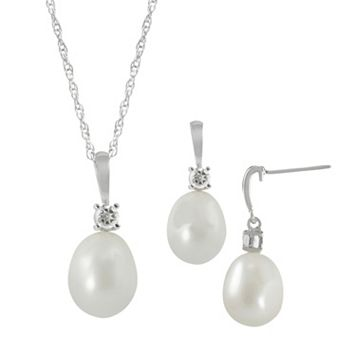 Sterling Silver Freshwater Cultured Pearl & White Topaz Pendant & Drop Earring Set
