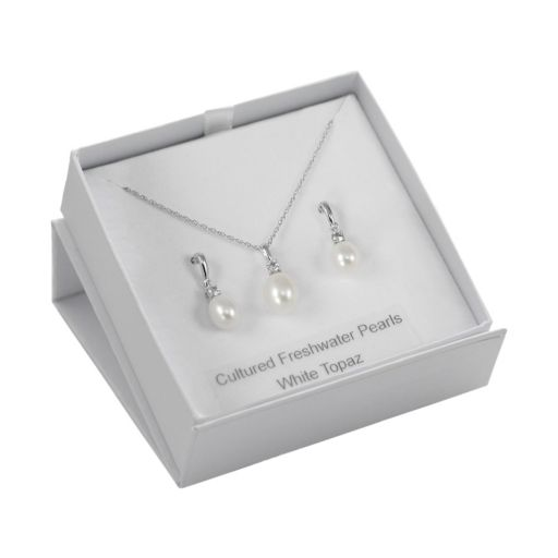 Sterling Silver Freshwater Cultured Pearl and White Topaz Pendant and Drop Earring Set