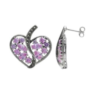 Lavish by TJM Sterling Silver Pink Cubic Zirconia Openwork Heart Drop Earrings - Made with Swarovski Marcasite