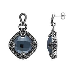 Lavish by TJM Sterling Silver Hematite Openwork Drop Earrings - Made with Swarovski Marcasite