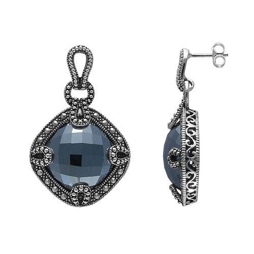 Lavish by TJM Sterling Silver Hematite Openwork Drop Earrings - Made with Swarovski Marcasite