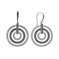 Lavish by TJM Sterling Silver Crystal Concentric Hoop Drop Earrings - Made with Swarovski Marcasite