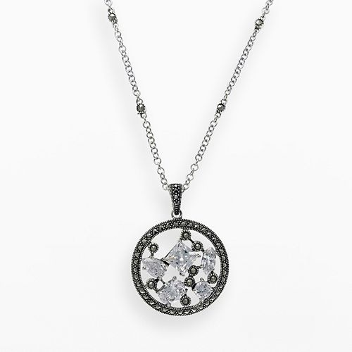 Lavish by TJM Sterling Silver Cubic Zirconia Openwork Disc Pendant - Made with Swarovski Marcasite