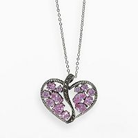 Lavish by TJM Sterling Silver Pink Cubic Zirconia Openwork Heart Pendant - Made with Swarovski Marcasite