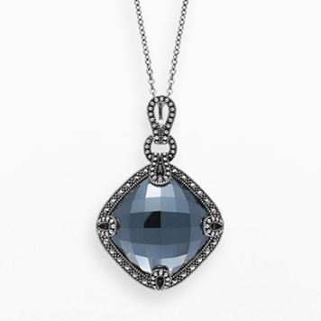 Lavish by TJM Sterling Silver Hematite Pendant - Made with Swarovski Marcasite