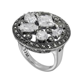 Lavish by TJM Sterling Silver Cubic Zirconia Openwork Disc Ring - Made with Swarovski Marcasite