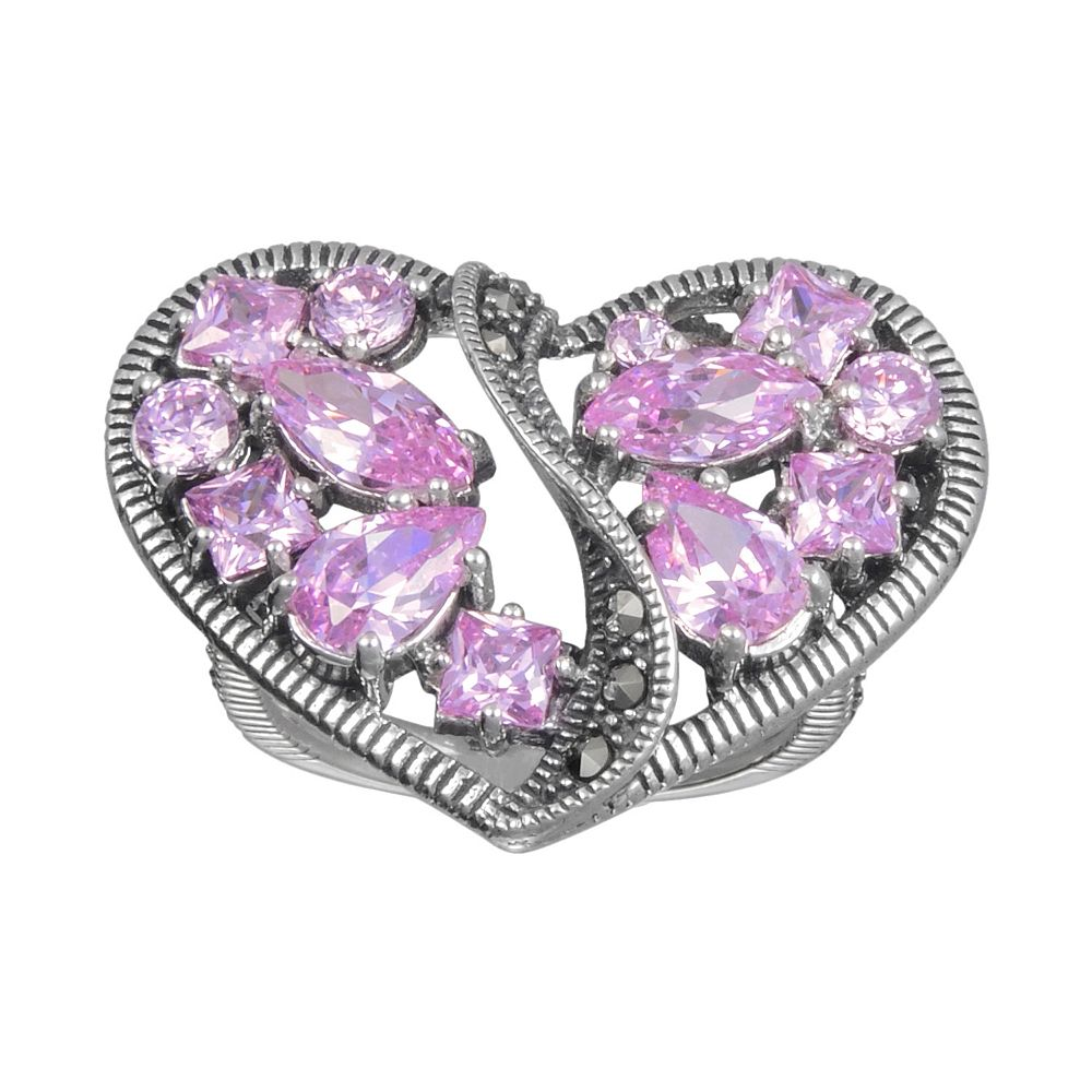 Lavish by TJM Sterling Silver Pink Cubic Zirconia Openwork Heart Ring - Made with Swarovski Marcasite