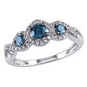 Round-Cut Blue & White Diamond 3-Stone Engagement Ring in 14k White Gold (1/2 ctT.W.)