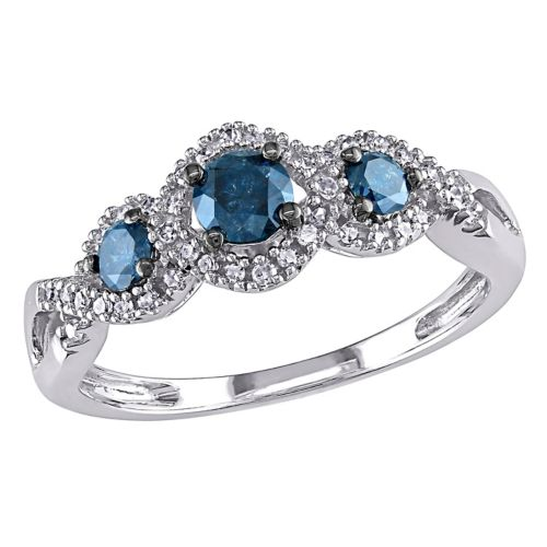 Cut Blue White Diamond 3 Stone Engagement Ring In 14k Gold