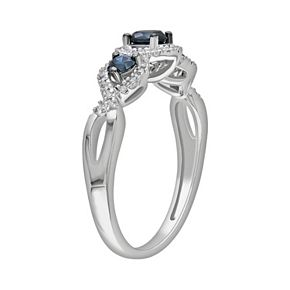 Stella Grace Round-Cut Blue & White Diamond 3-Stone Engagement Ring in 14k White Gold (1/2 ct. T.W.)
