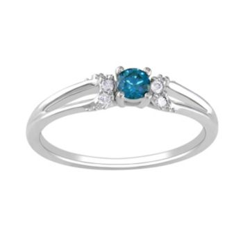 Stella Grace Round-Cut Blue and White Diamond Engagement Ring in 10k White Gold (1/5 ct. T.W.)