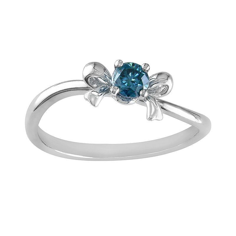 10k White Gold 1/5-ct. T.W. Blue Diamond Bow Ring