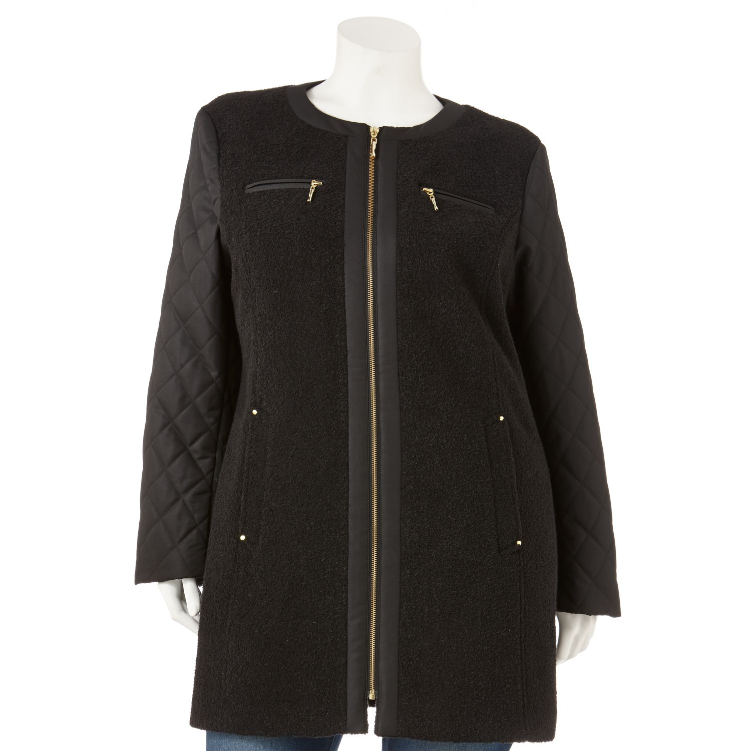 Apt. 9 Collarless Mixed-Media Coat - Women's Plus