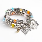 Croft and Barrow Bead Stretch Charm Bracelet Set