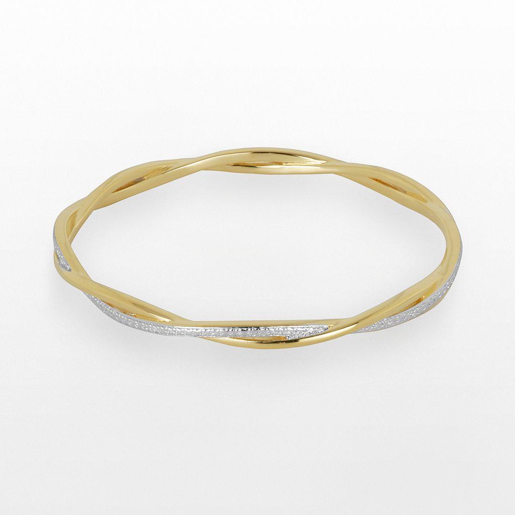 18k Gold Over Bronze & Rhodium-Plated Bronze Diamond Accent Twist Bangle Bracelet