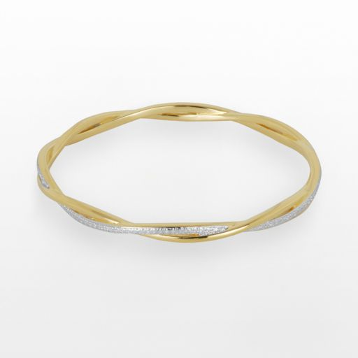 18k Gold Over Bronze and Rhodium-Plated Bronze Diamond Accent Twist Bangle Bracelet
