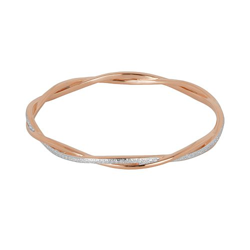18k Rose Gold Over Bronze & Rhodium-Plated Bronze Diamond Accent Twist Bangle Bracelet