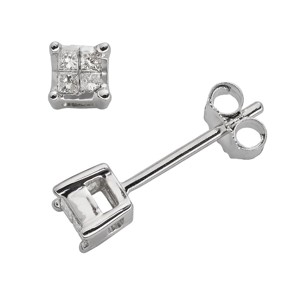 10k White Gold 1/10-ct. T.W. Diamond Stud Earrings