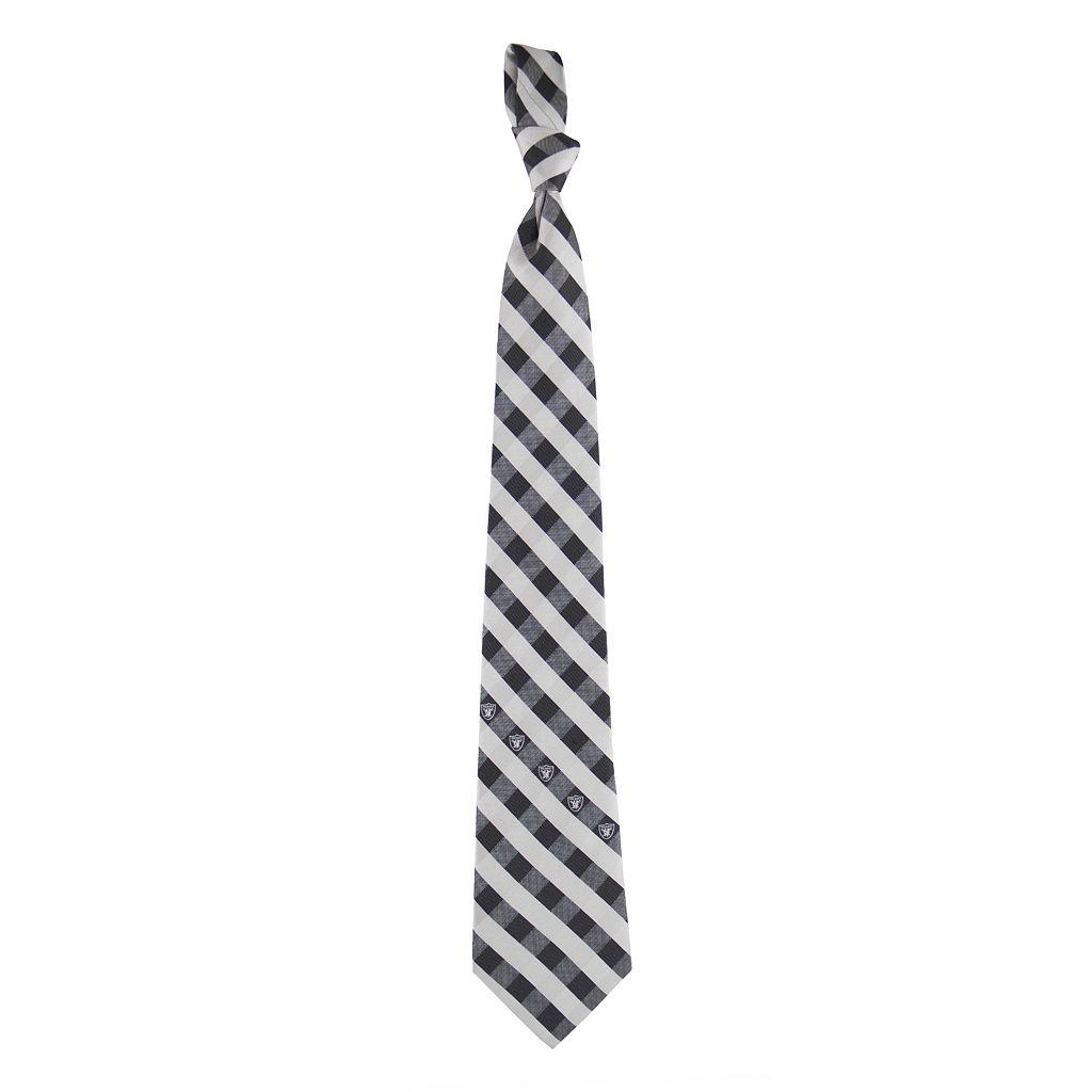 Men's Oakland Raiders Plaid NFL Tie