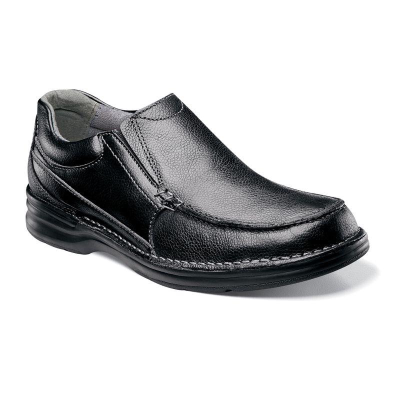 Nunn Bush Black Patterson Dynamic ComfortWide Slip-On Casual Shoes - Men