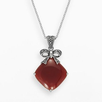 Lavish by TJM Sterling Silver Red Agate Bow Pendant - Made with Swarovski Marcasite