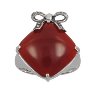 Lavish by TJM Sterling Silver Red Agate Bow Ring -  - Made with Swarovski Marcasite
