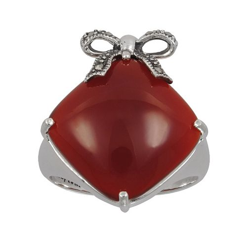 Lavish by TJM Sterling Silver Red Agate Bow Ring - Made with Swarovski Marcasite
