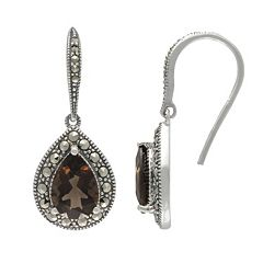 Lavish by TJM Sterling Silver Smoky Quartz Drop Earrings - Made with Swarovski Marcasite