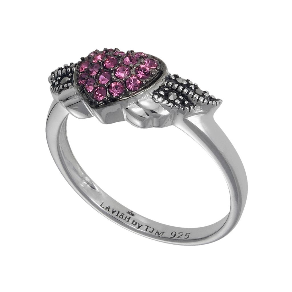 Lavish by TJM Sterling Silver Pink Crystal Angel Heart Ring - Made with Swarovski Marcasite