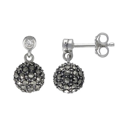 Lavish by TJM Sterling Silver Cubic Zirconia Ball Drop Earrings - Made with Swarovski Marcasite