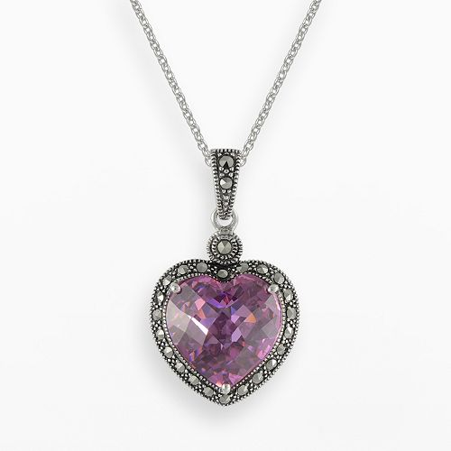 Lavish by TJM Sterling Silver Pink Cubic Zirconia Heart Pendant - Made with Swarovski Marcasite
