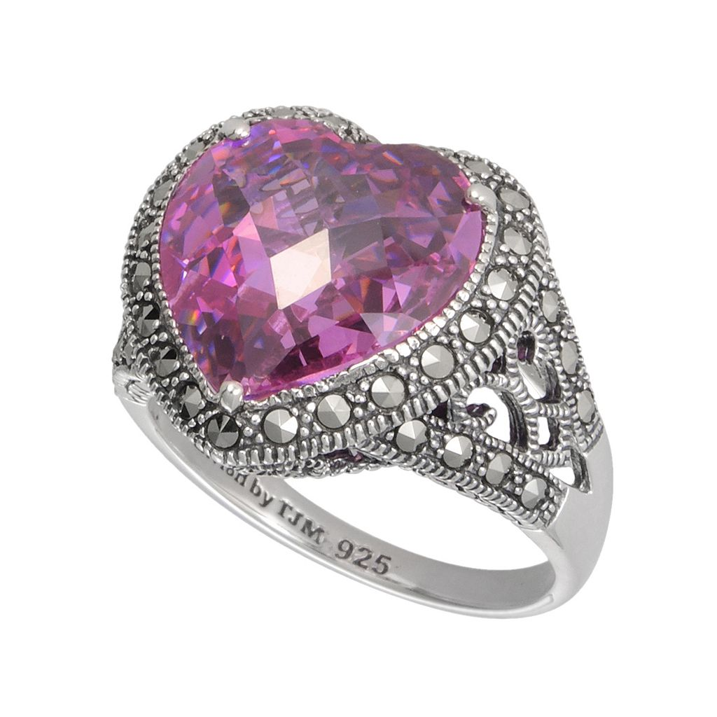 Lavish by TJM Sterling Silver Pink Cubic Zirconia Heart Ring - Made with Swarovski Marcasite
