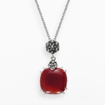 Lavish by TJM Sterling Silver Red Agate Pendant - Made with Swarovski Marcasite