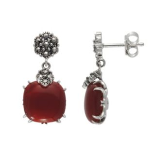 Lavish by TJM Sterling Silver Red Agate Drop Earrings -  - Made with Swarovski Marcasite