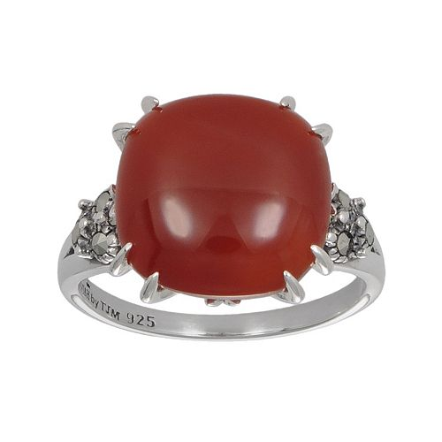 Lavish by TJM Sterling Silver Red Agate Ring - Made with Swarovski Marcasite