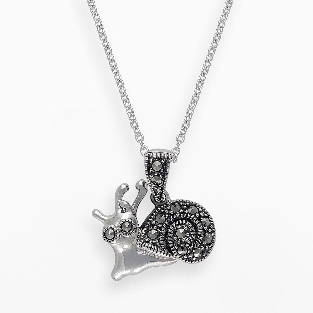 Lavish by TJM Sterling Silver Snail Pendant - Made with Swarovski Marcasite