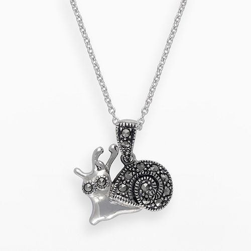 Lavish by TJM Sterling Silver Snail Pendant - Made with Swarovski Marcasite