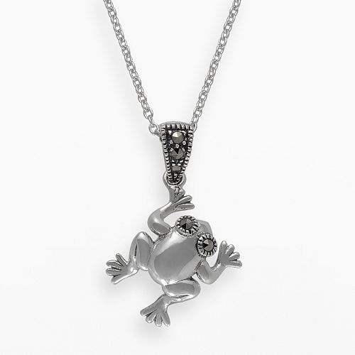 Lavish by TJM Sterling Silver Frog Pendant - Made with Swarovski Marcasite